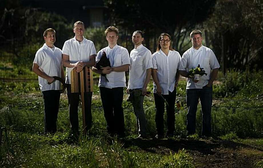 (lft-rt) Curtis Di Fede, chef at Oenotri in Napa, Tyler Rodde, chef at Oenotri in Napa, Thomas McNaughton, Chef at Flour+Water in San Francisco, Aaron London, Chef at Ubuntu in Napa, Danny Bowien, chef at Mission Chinese Food, and Charlie Parker, Executive Chef at Plum in Oakland., a group of six bay area rising star chefs stand for a portrait at the Edible Schoolyard on the Martin Luther King Middle School campus on Tuesday Feb. 22, 2011 in Berkeley, Calif. Photo: Mike Kepka, The Chronicle
