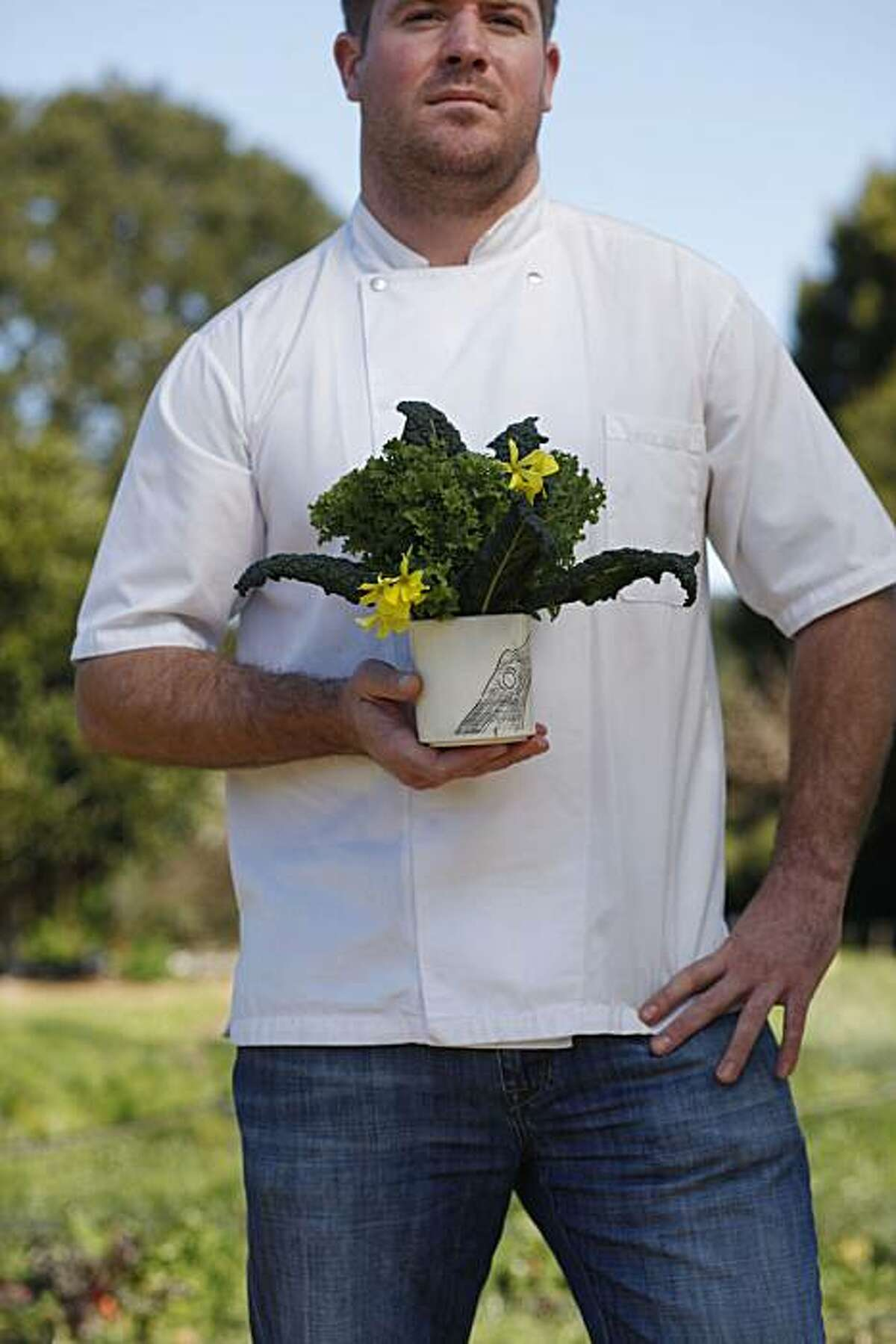 Charlie Parker, Executive Chef at Plum in Oakland., one of six bay area rising star chefs stand for a portrait at the Edible Schoolyard on the Martin Luther King Middle School campus on Tuesday Feb. 22, 2011 in Berkeley, Calif.