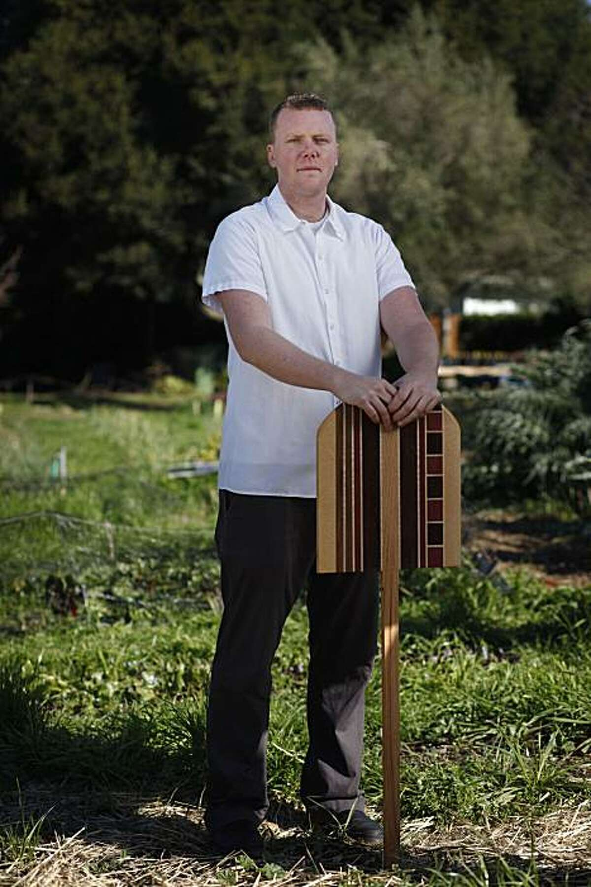 Tyler Rodde, chef at Oenotri in Napa, one of six bay area rising star chefs stands for a portrait at the Edible Schoolyard on the Martin Luther King Middle School campus on Tuesday Feb. 22, 2011 in Berkeley, Calif.