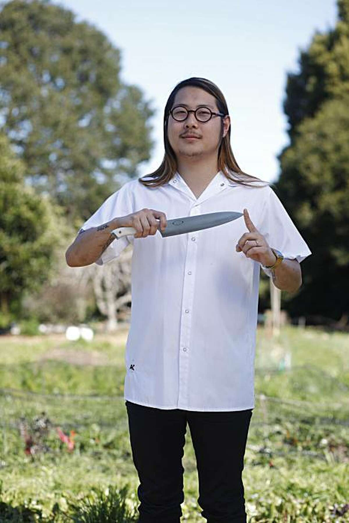 Danny Bowien, chef at Mission Chinese Food, one of six bay area rising star chefs stands for a portrait at the Edible Schoolyard on the Martin Luther King Middle School campus on Tuesday Feb. 22, 2011 in Berkeley, Calif.