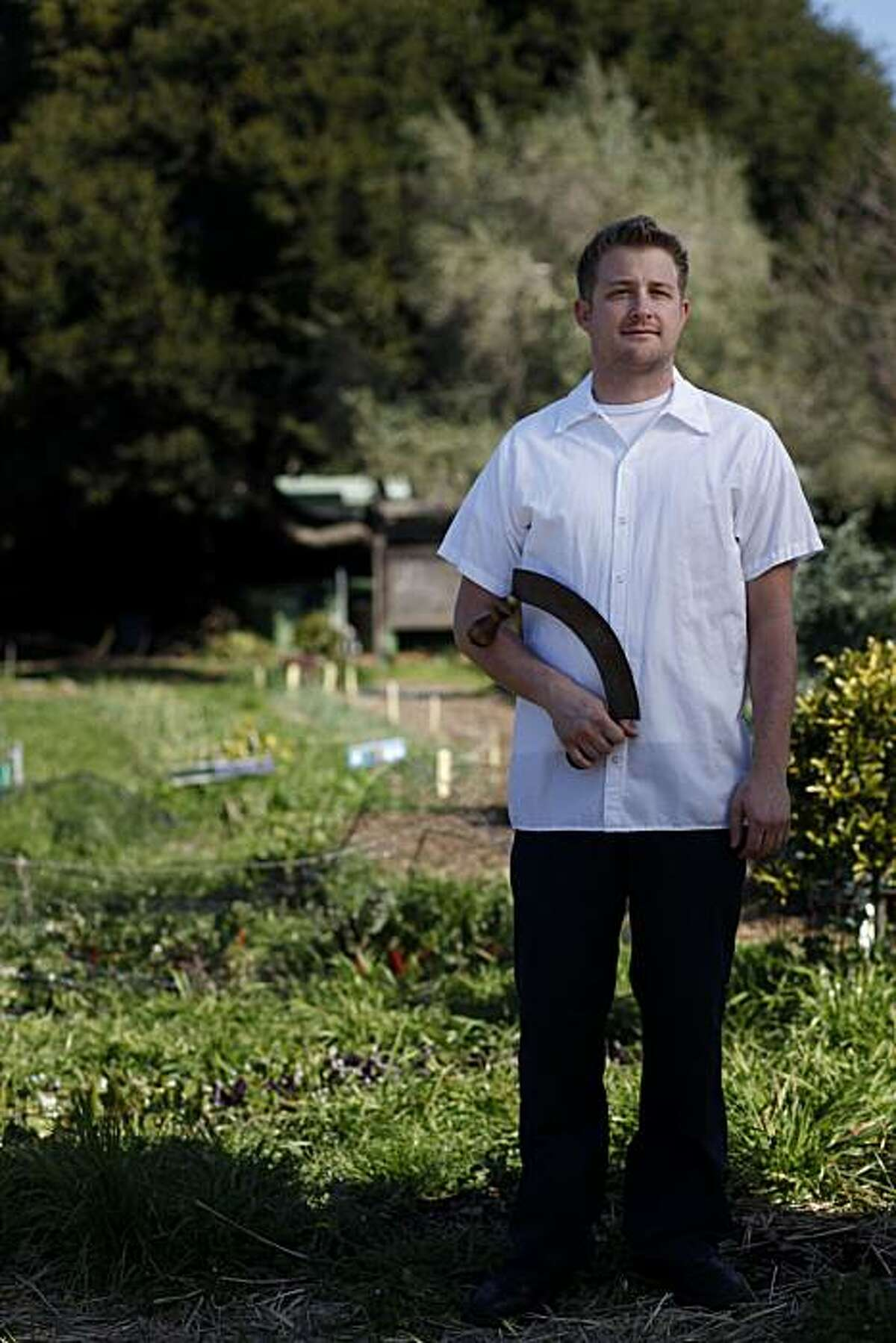 Curtis Di Fede, chef at Oenotri in Napa, one of six bay area rising star chefs stands for a portrait at the Edible Schoolyard on the Martin Luther King Middle School campus on Tuesday Feb. 22, 2011 in Berkeley, Calif.