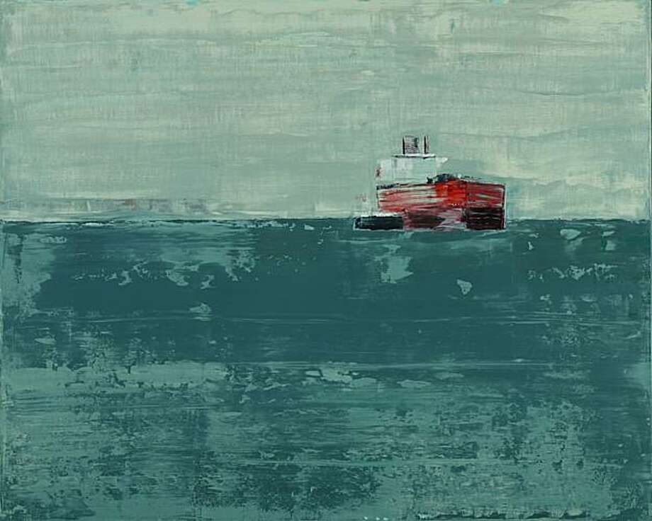 """Sage Green Sea"" (2011) oil on wood by Suzy Barnard   32"" x 40"" Photo: Unknown, Togonon Gallery, S.f."
