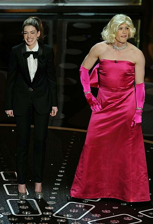 Presenters Anne Hathaway and James Franco, in drag, appear on stage during the 83rd annual Academy Awards at the Kodak Theater in Hollywood on February 27, 2011. Photo: Gabriel Bouys, AFP/Getty Images