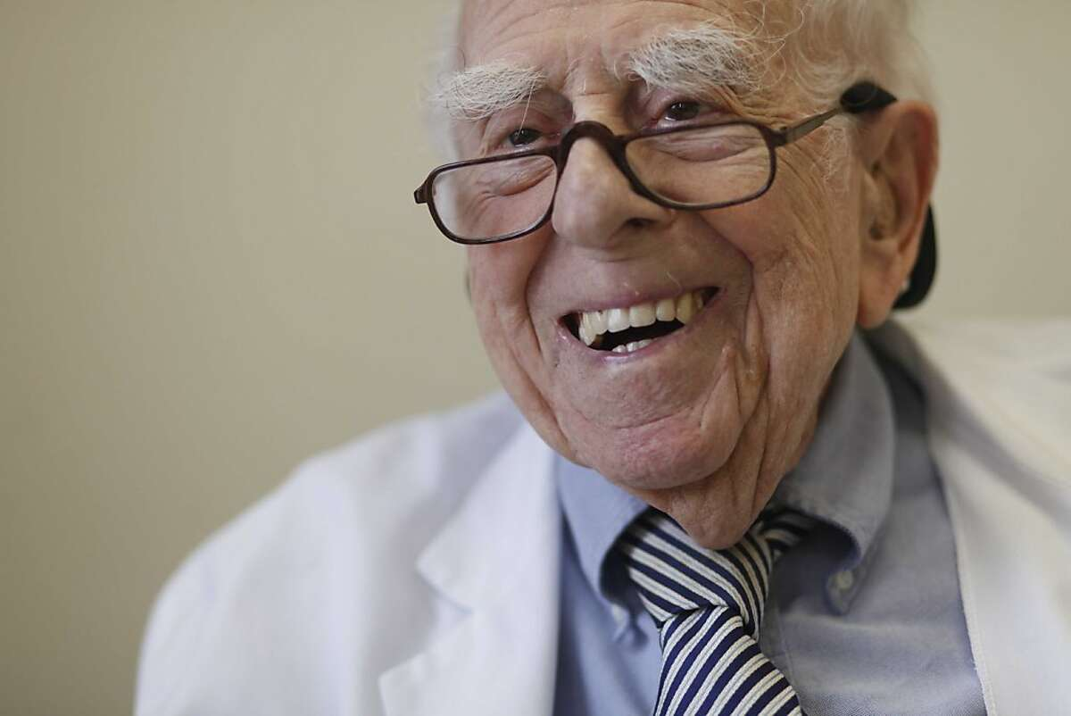 Dr. Ephraim Engleman, who turns 100 on March 24 and still practices medicine, sits for a portrait in his office at UCSF on Wednesday March 3, 2011 in San Francisco, Calif.