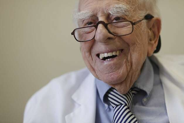 Dr. Ephraim Engleman, who turns 100 on March 24 and still practices medicine, sits for a portrait in his office at UCSF on Wednesday March 3, 2011 in San Francisco, Calif. Photo: Mike Kepka, The Chronicle