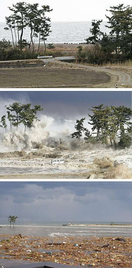 This combo of photos taken on March 11, 2011 shows the coast at Minamisoma, Fukushima prefecture before (top), during (middle), and after (bottom) a tsunami. The number of people confirmed dead or listed as missing in Japan neared 21,000, nine days aftera massive earthquake and tsunami struck. Photo: Jiji Press, AFP/Getty Images
