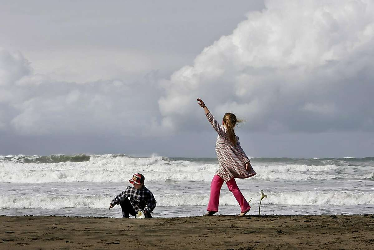Liam Orsi, left, plants a calla lily in the sand as his sister Maya Orsi dances along Ocean Beach on Sunday in San Francisco. Their family brought the calla lilies from their garden to honor the memory of the uncle Steven Carpenter.Liam Orsi, left, plants a calla lily in the sand as his sister Maya Orsi dances along Ocean Beach, Sunday March 20, 2011, in San Francisco, Calif. Their family brought the lillies from the garden to honor the memory of their uncle Steven Carpenter.