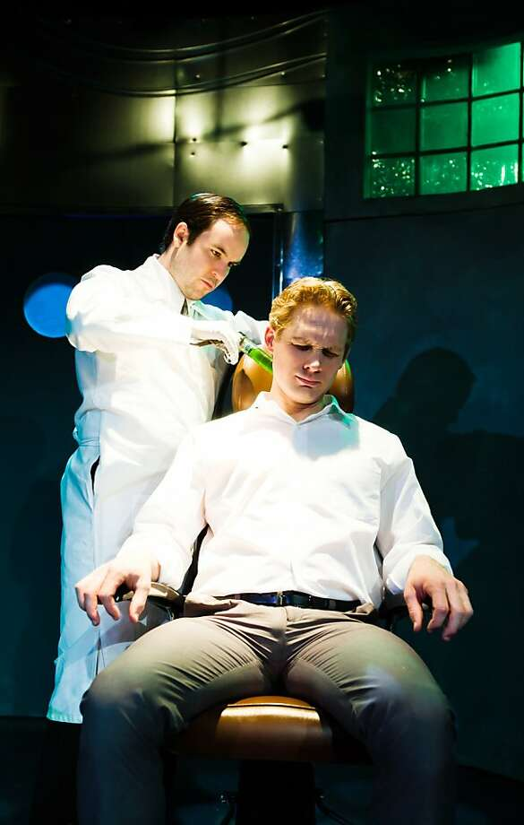 "A doctor (Cole Alexander Smith, left) attempts to inject the ""wire"" into Adams (Craig Marker) in Matt Benjamin and Logan Brown's ""Wirehead"" at SF Playhouse Photo: Jessica Palopoli"