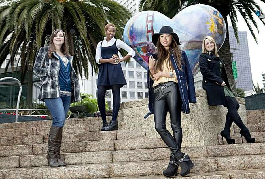 San Francisco Style bloggers, from left, Ashley Gustafson (Fashionably Ashley/Digitally Chic), Adelle McElveen (Fashionista Lab), Aimee Song (Song of Style) and Jennifer Margolin (Red Sole Diary) pose for a portrait near one of the iconic Hearts at Union Square in San Francisco, Calif. on Thursday, February 24, 2011.   Kat Wade / Special to the Chronicle Photo: Kat Wade, Special To The Chronicle