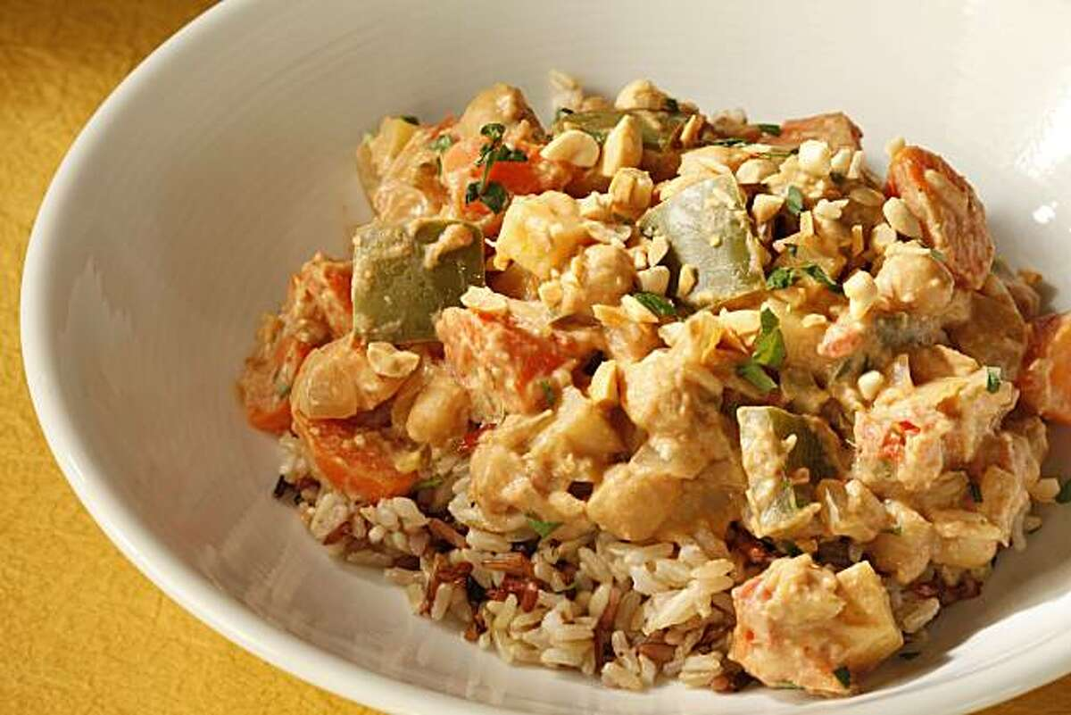 Vegetarian peanut stew as seen in San Francisco, California, on January 26, 2010. Food styled by Kelly Rae Hickman.