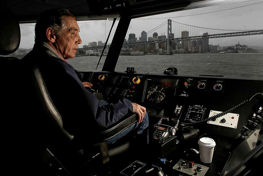 "Skipper Rocky Harris pilots the San Francisco Harbor Bay Isle ferry boat, ""Pisces"", across San Francisco Bay on Friday March 18, 2011, in San Francisco, Ca. Photo: Michael Macor, The Chronicle"