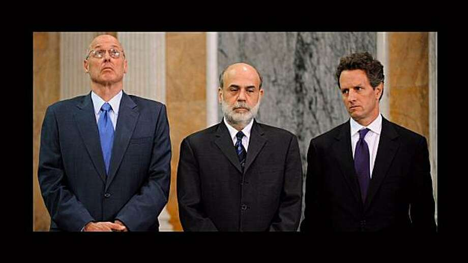 "Left to Right: Henry Paulson, Ben Bernanke and Timothy Geithner from the documentary, ""Inside Job."" Photo: Representational Pictures, Courtesy Of Sony Pictures Classi"