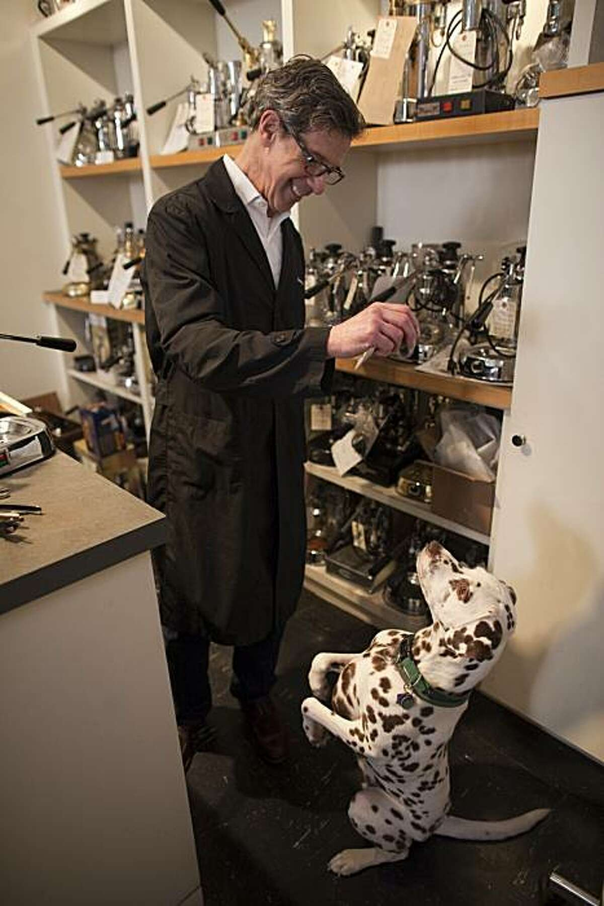 Christopher Cara with his 11 year old Liver Spotted Dalmatian, Carlotta photographed at Thomas Cara LTD on January 31, 2011 in San Francisco, California. Photograph by David Paul Morris/Special to the Chronicle