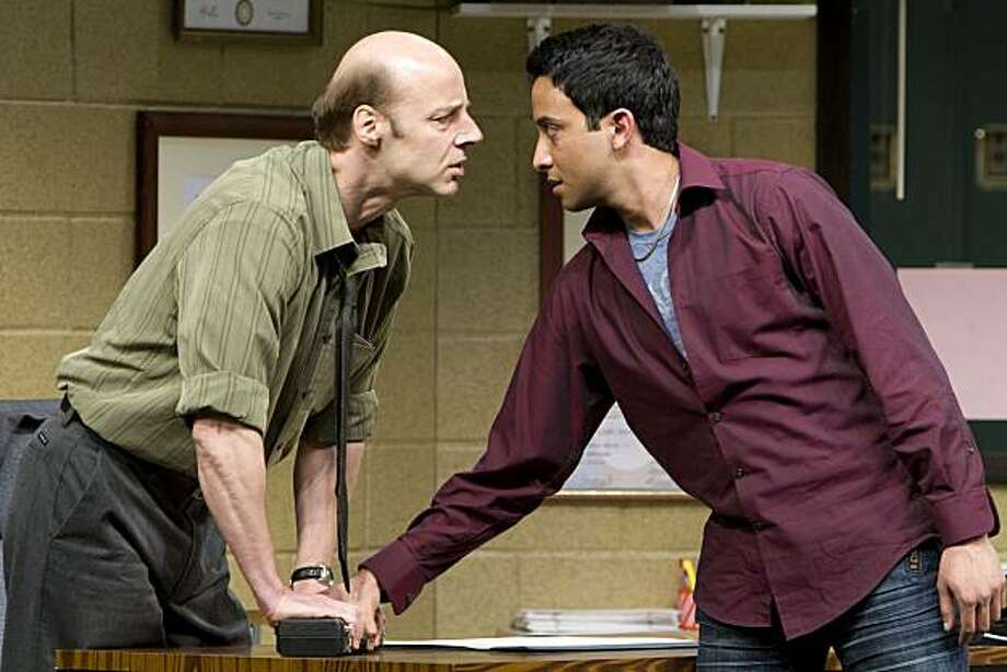 "High school student Khadim (Adam Poss, right) faces a suspicious Vice Principal Danielson (Remi Sandri) in TheatreWorks' world premiere of Rajiv Joseph's ""The North Pool"" Photo: Mark Kitaoka"