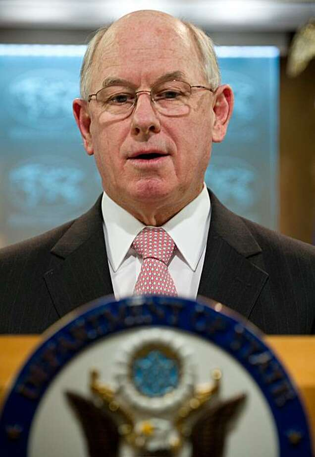 "(FILES) US State Department spokesman P.J. Crowley speaks at the daily briefing at the State Department in Washington on February 22, 2011. Crowley resigned March 13, 2011 after slamming the Pentagon's treatment of a US solider suspected of leaking thousands of diplomatic cables and military documents to WikiLeaks as ""counter-productive."" Photo: Nicholas Kamm, AFP/Getty Images"