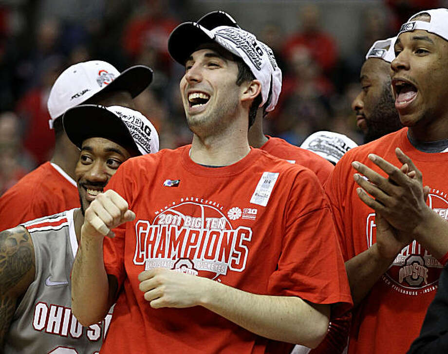 INDIANAPOLIS, IN - MARCH 13:  (L-R) David Lighty #23, Jon Diebler #33 and Jared Sullinger #0 of the Ohio State Buckeyes celebrates after they won 71-60 against the Penn State Nittany Lions during the championship game of the 2011 Big Ten Men's BasketballTournament at Conseco Fieldhouse on March 13, 2011 in Indianapolis, Indiana. Photo: Andy Lyons, Getty Images