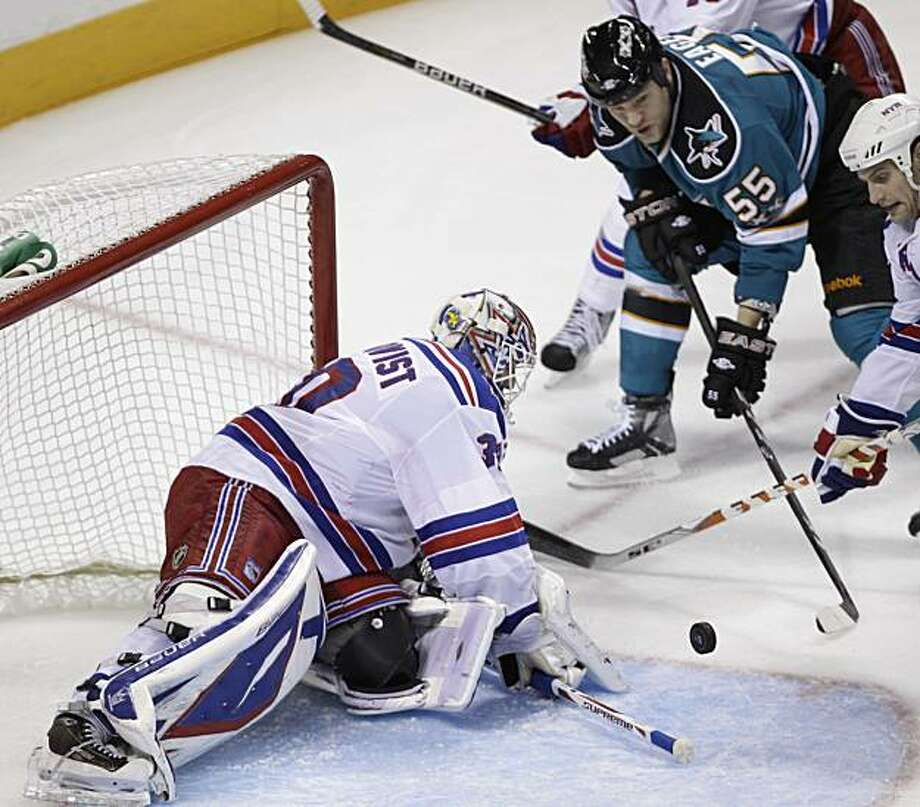 San Jose Sharks left wing Ben Eager (55) is unable to score past New York Rangers goalie Henrik Lundqvist (30), of Sweden, in the third period of an NHL hockey game in San Jose, Calif., Saturday, March 12, 2011. Photo: Paul Sakuma, AP