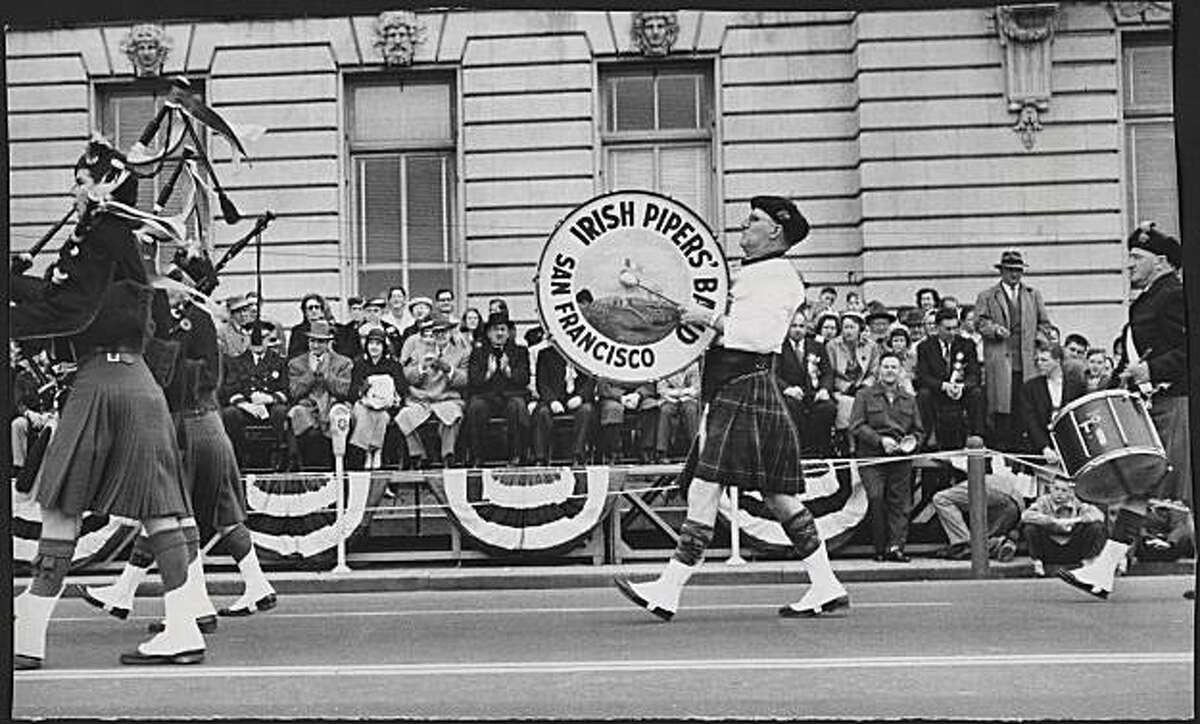 St. Patrick of Ireland was honored by a colorful, three-hour parade up Market Street on March 17, 1957, an event as all-encompassing and many-sided as San Francisco itself. Photo was taken: 03/17/1957.
