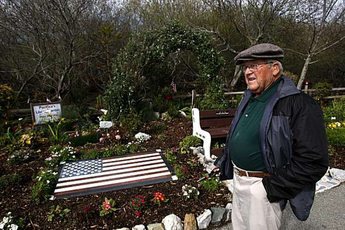 Michael Mooney poses for a portrait at the Pacifica Victory Garden that he is still building in dedication to those lost during the terrorist attacks on September 11th, 2001, which he volunteered to begin building 10 years ago in Pacifica, Calif., on Friday, February 25, 2011.