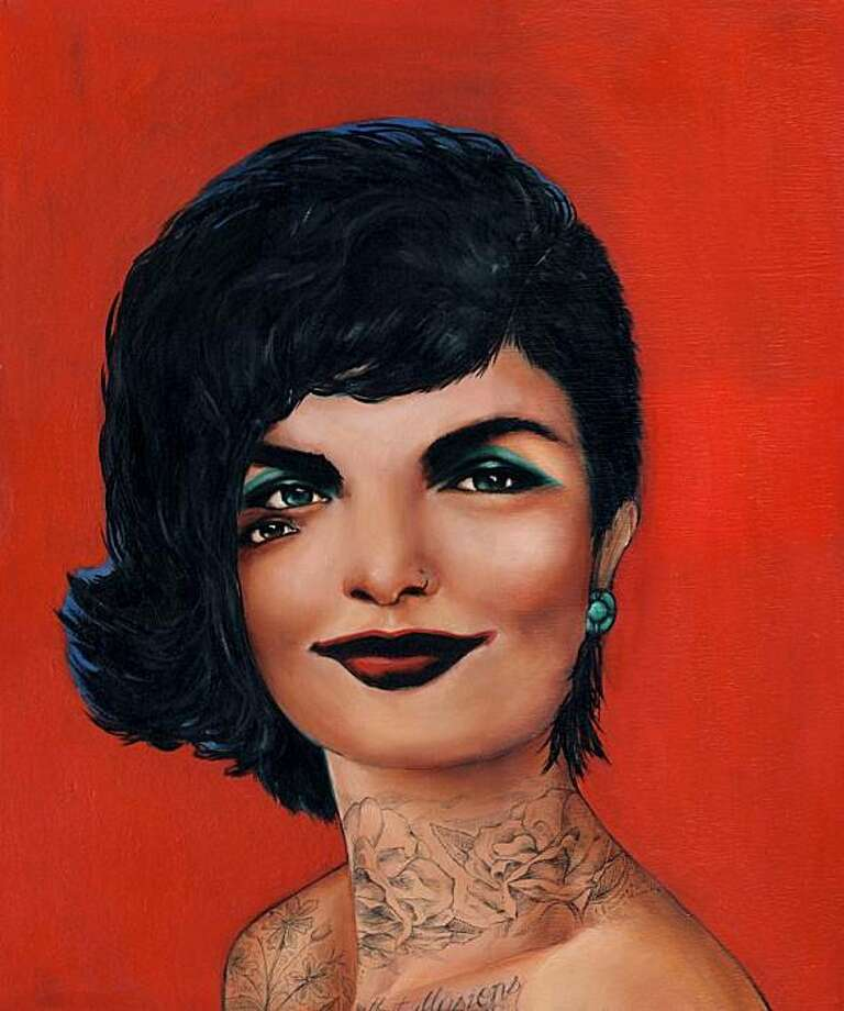 Charmaine Olivia gives Andy Warhol?s famed image of Jackie Onassis a new look. Photo: Project One Gallery