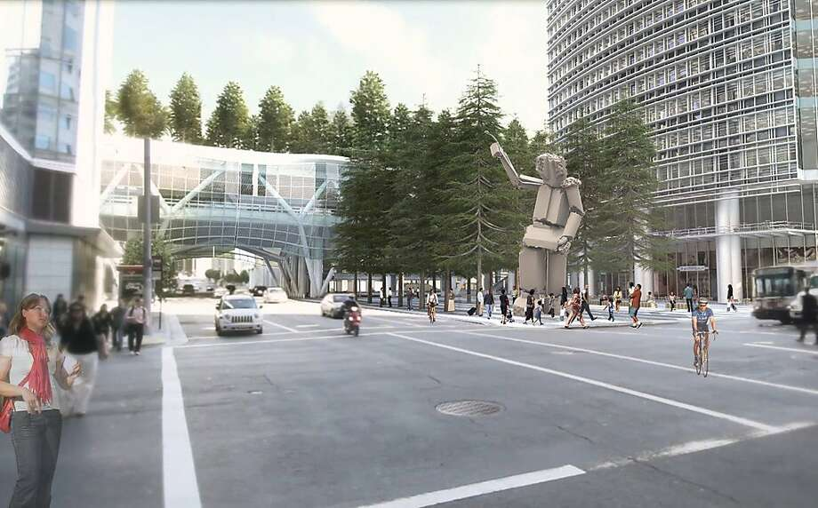 An as-yet-untitled sculpture by Tim Hawkinson is proposed to rise in 2015 at the corner of Fremont and Mission streets in San Francisco. It would be joined in 2017 by a new transit terminal (rear) as well as a planned office tower (right). Hawkinson's work would be assembled from salvaged pieces of the Transbay Terminal that once occupied the site. Photo: Courtesy TJPA
