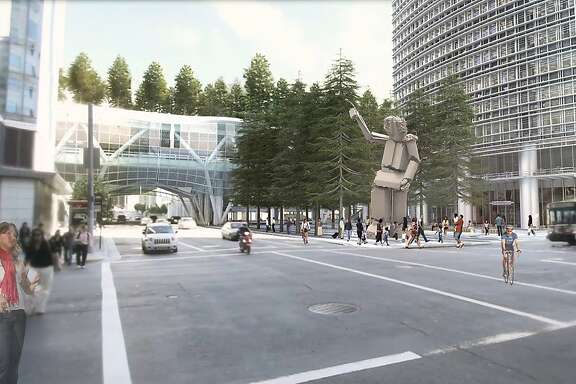 An as-yet-untitled sculpture by Tim Hawkinson is proposed to rise in 2015 at the corner of Fremont and Mission streets in San Francisco. It would be joined in 2017 by a new transit terminal (rear) as well as a planned office tower (right). Hawkinson's work would be assembled from salvaged pieces of the Transbay Terminal that once occupied the site.