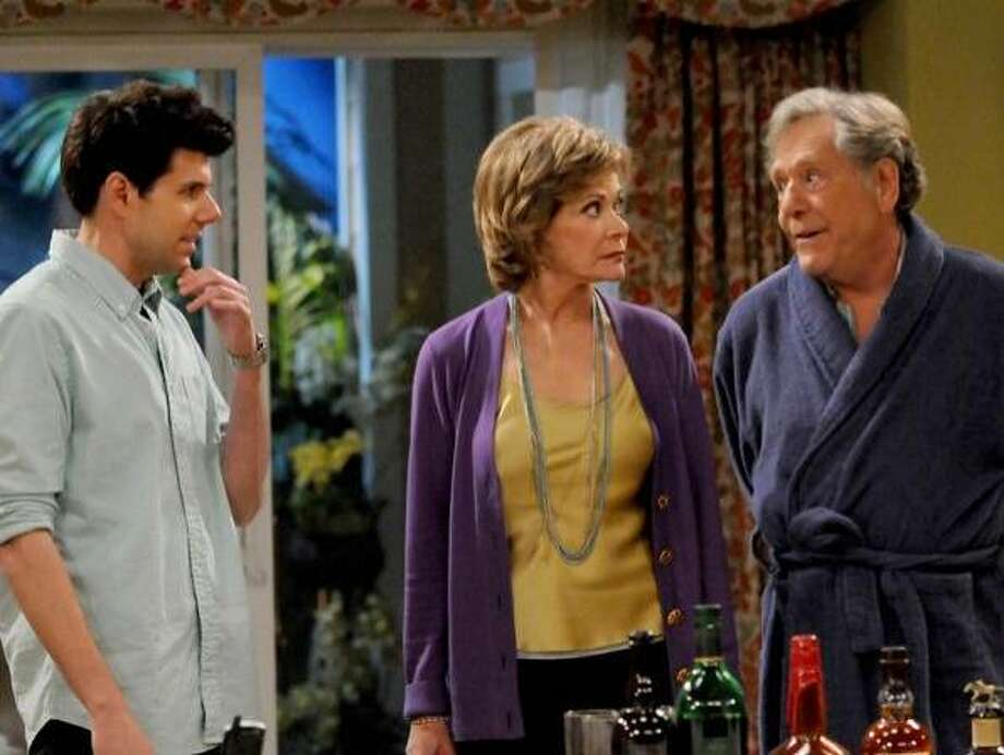 "Johnathan McClain as David, Jessica Walter as his mom, Elaine; and George Segal as his dad, Alan, in ""Retired at 35."" Photo: TV Land"