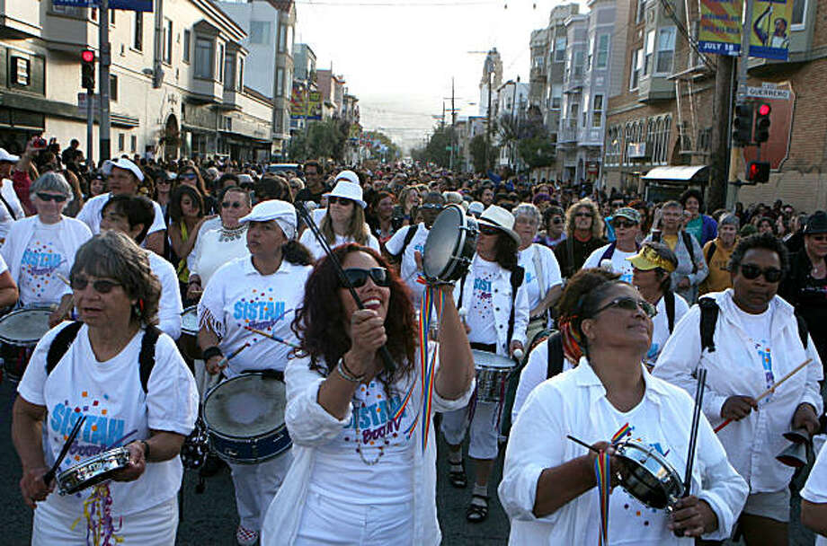 Sistah Boom band marches in the 18th annual Dyke March up 16th Street from Dolores Park in San Francisco on Saturday. Photo: Kat Wade, Special To The Chronicle