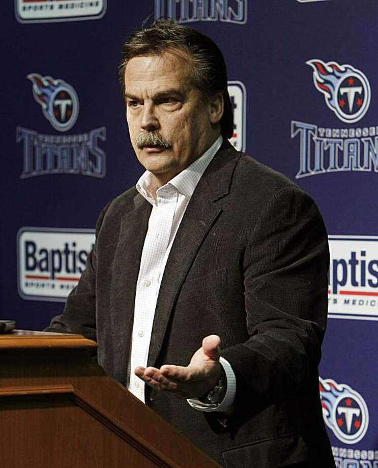 Tennessee Titans head coach Jeff Fisher speaks with reporters at the team's practice facility on Monday, Jan. 3, 2011, in Nashville, Tenn. The Titans' playoff hopes that came with a 5-2 start in the season disappeared with injuries to quarterback Vince Young and eight losses in their final nine games. Photo: Mark Humphrey, AP