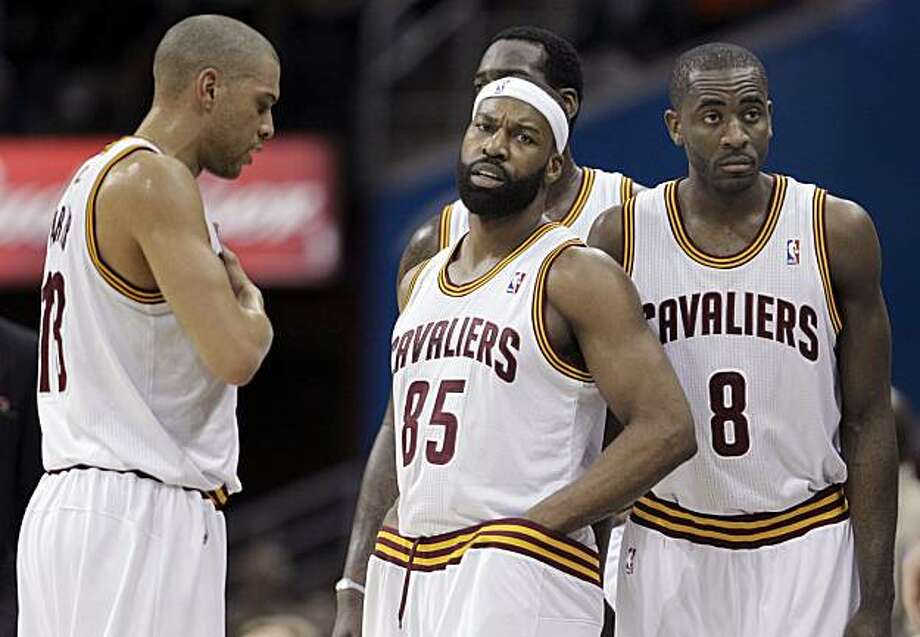 Playing his first home with the team, Cleveland Cavaliers' Baron Davis (85) comes onto the court after a timeout with teammates, from left, Anthony Parker, J.J. Hickson, rear, and Christian Eyenga in the first half of an NBA basketball game against the New Orleans Hornets in Cleveland on Sunday, March 6, 2011. Photo: Amy Sancetta, AP