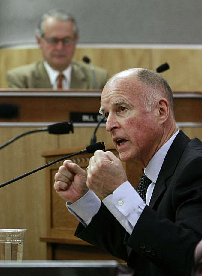 Gov. Jerry Brown responds to a question while appearing before the joint legislative budget conference committee at the Capitol  in Sacramento, Calif., Thursday, Feb. 24, 2011.  Brown, took questions from committee members about his proposed budget plan. Photo: Rich Pedroncelli, AP