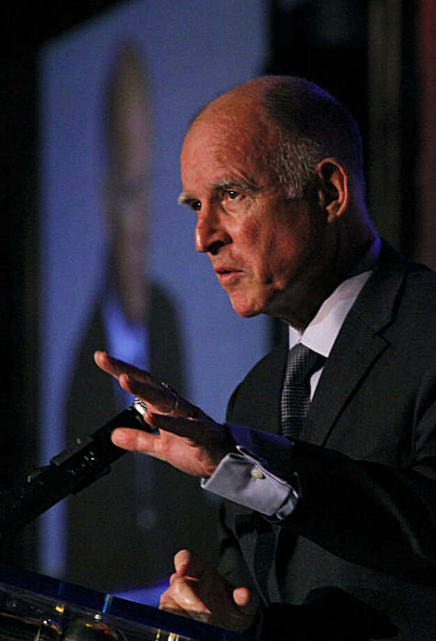 California Gov. Jerry Brown addresses the California Police Chiefs Association Training Symposium at the Disneyland Hotel in Anaheim, California, Tuesday, March 1, 2011. (Don Bartletti/Los Angeles Times/MCT) Photo: Don Bartletti, MCT