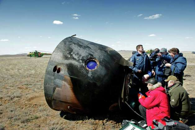 The Soyuz space capsule that carried Bellevue software billionaire Charles Simonyi is shown after its return to Earth. Photo: MAXIM MARMUR, SPACE ADVENTURES / MAXIM MARMUR