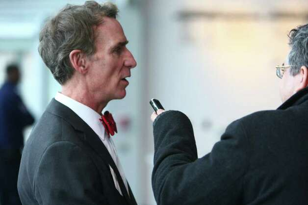 Bill Nye the Science Guy is interviewed during a dedication ceremony for the Museum of Flight's new Charles Simonyi Space Gallery. The gallery will feature as its centerpiece the Space Shuttle Full-Fuselage Trainer. The shuttle trainer will be delivered in stages beginning in June 2012. Photo: JOSHUA TRUJILLO / SEATTLEPI.COM