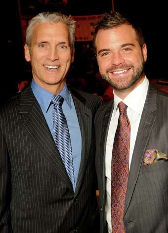 Co-chair Ken Newberry, left, with Nathan Kasselde r at the World AIDS Day Luncheon at the Hilton Americas Hotel. Photo: Dave Rossman / © 2011 Dave Rossman