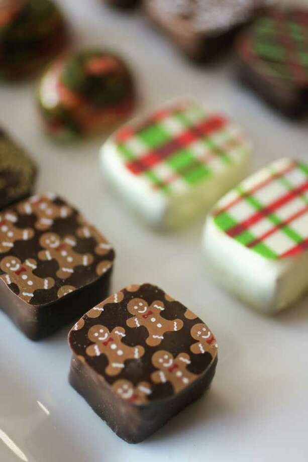 Some of the hand painted and hand screened designs by Araya Artisan Chocolate. Photo: Nick De La Torre / © 2011  Houston Chronicle