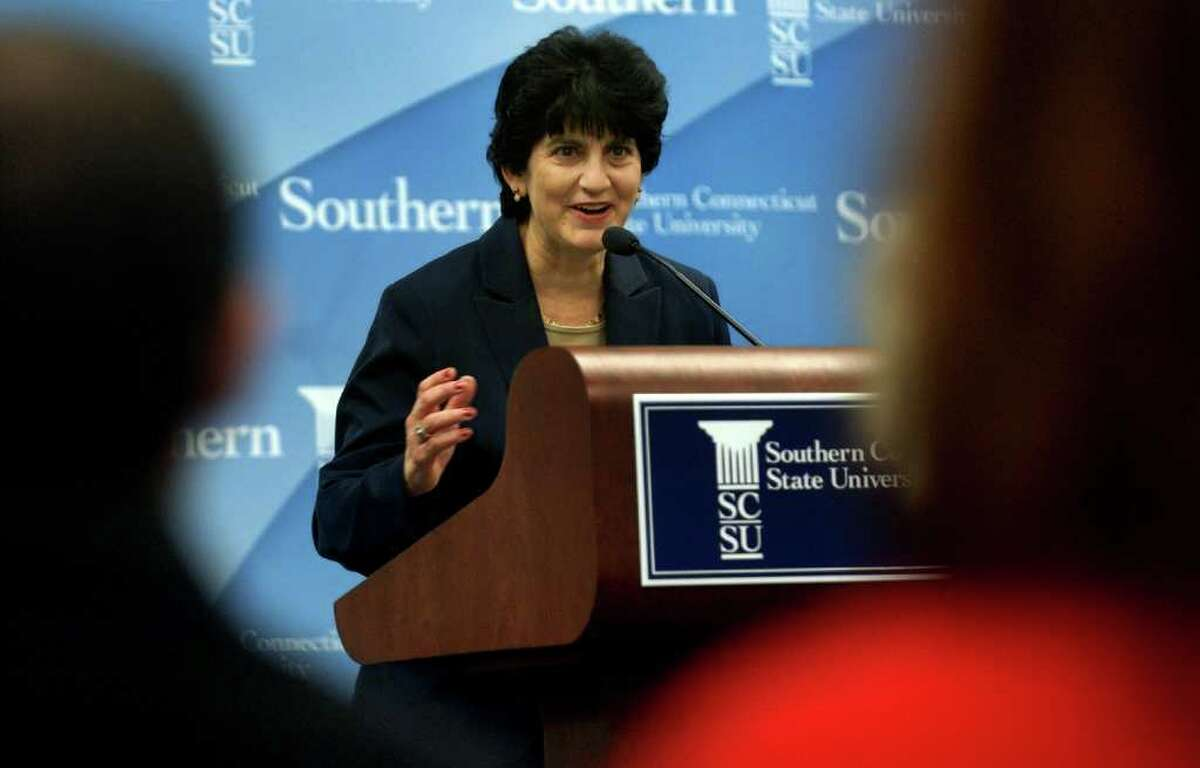 Dr. Mary Papazian makes comments after it was announced she would become the new president at Southern Connectiuct State University in New Haven, Conn. on Thursday Dec. 8, 2011.