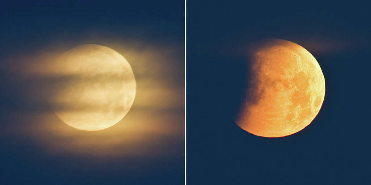 This combo of photos shows (L) the full moon behind clouds and (R) the earth's shadow casting over the moon a few minutes later during a lunar eclipse on early December 21, 2010, seen from the northeastern German town of Petersdorf. During the eclipse, the Earth will align between the full moon and the sun, covering the lunar surface in shadow. This eclipse is notable because it takes place just hours before the winter solstice, which marks the beginning of northern winter and southern summer. (PATRICK PLEUL/AFP/Getty Images)