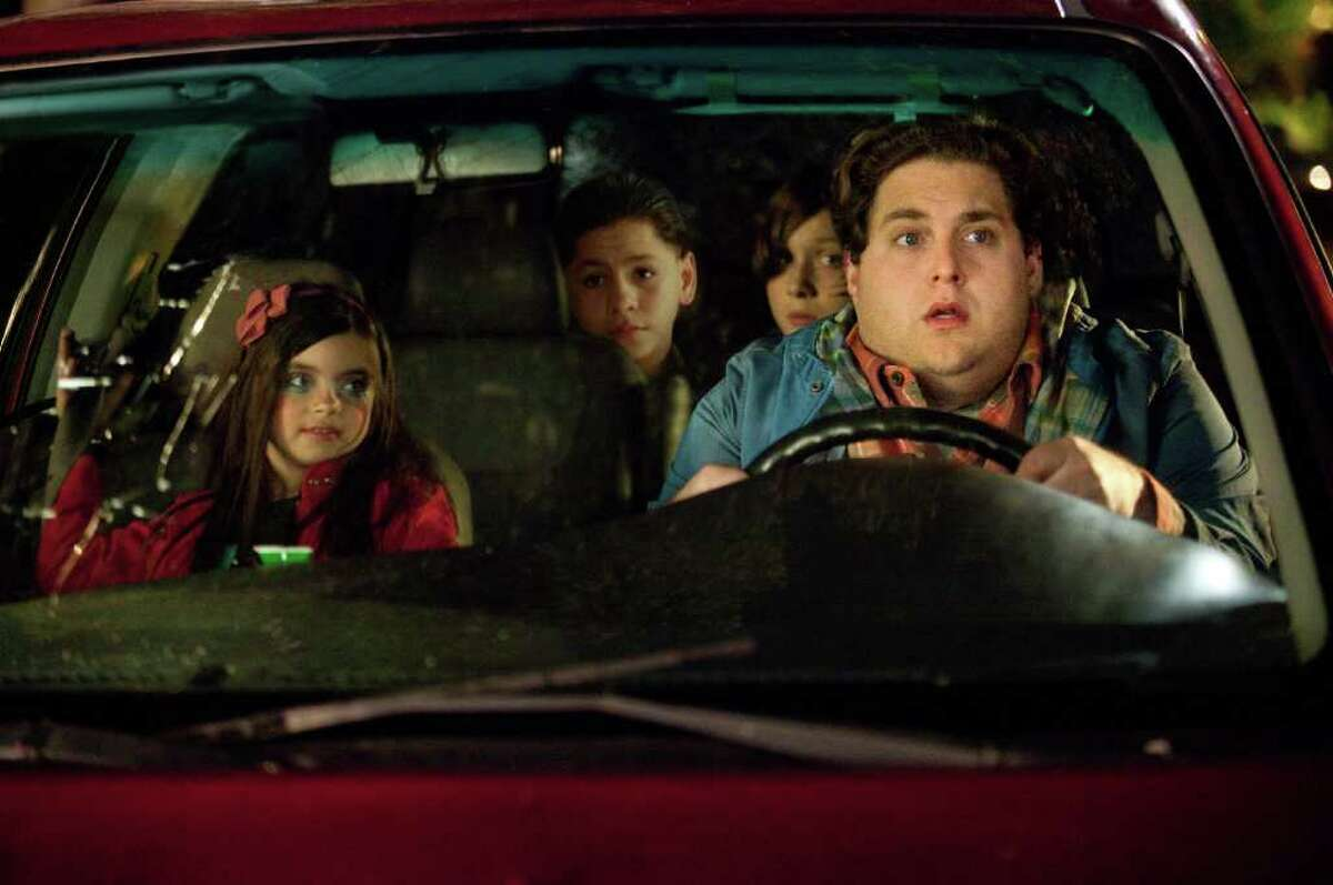 20TH CENTURY FOX SPENDING TIME WITH THE KIDS: Landry Bender, from left, Kevin Hernandez, Max Records and Jonah Hill go for a memorable ride in The Sitter.