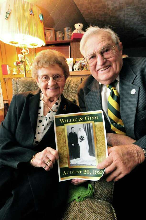 Gino Turchi and his wife, Willie, who have been married for 72 years in Clifton Park, NY Wednesday, Dec.7, 2011.( Michael P. Farrell/Times Union) Photo: Michael P. Farrell