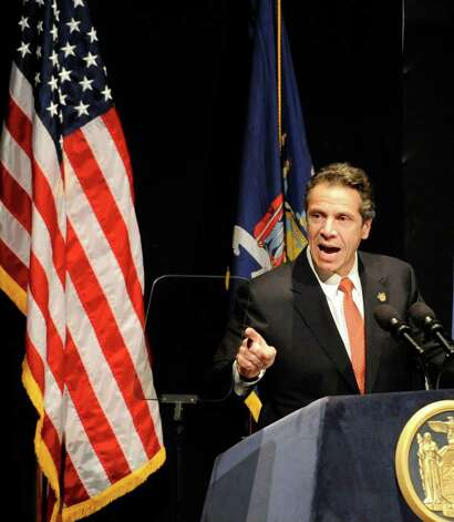 Governor Andrew Cuomo speaks before the announcement of winners of the Regional Economic Development grants at the Empire State Plaza in Albany, N.Y. Dec. 8, 2011.    (Skip Dickstein / Times Union) Photo: SKIP DICKSTEIN / 2011