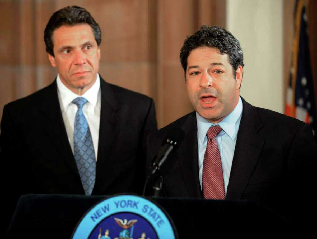 New York State Attorney General Andrew Cuomo and his Chief of Staff Steven Cohen hold a press conference at the State Capitol in Albany, NY on June 18, 2008. Cohen berated Malloy's chief of staff, Tim Bannon, over Malloy's criticism of Cuomo's budget.