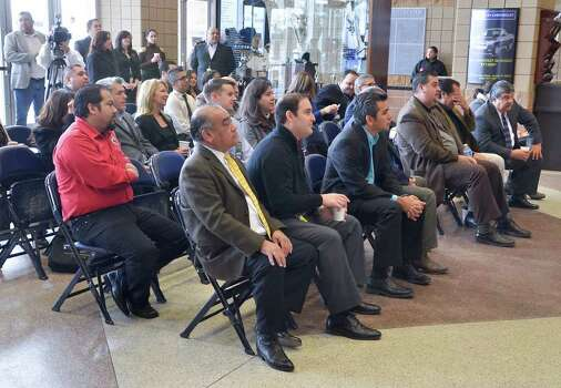 Representatives of different organizations were on hand Friday morning at the Laredo Energy Arena for a press conference to announce the January 13, 2012 Eagle Ford Shale Job and Vendors Fair to be held at the LEA. Photo: CUATE SANTOS / LAREDO MORNING TIMES
