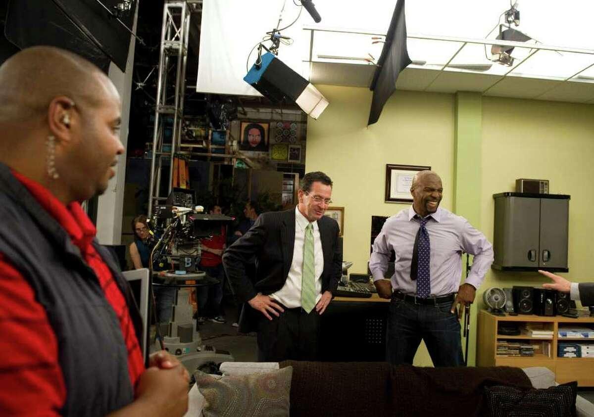 Gov. Dan Malloy on the set of the sitcom