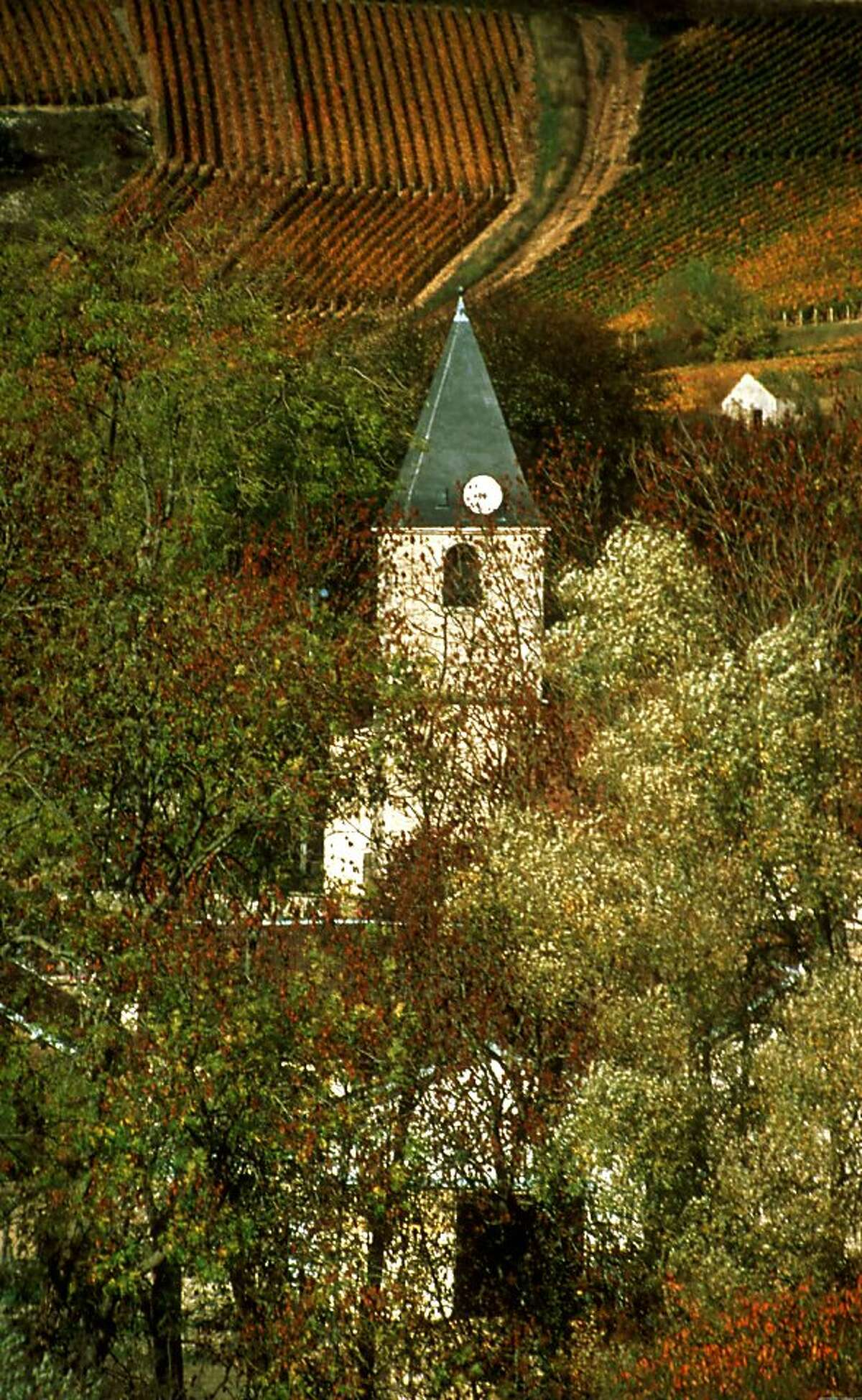 An autumn view of the town of Urville in the Aube region of Champagne in this 1996 photo.