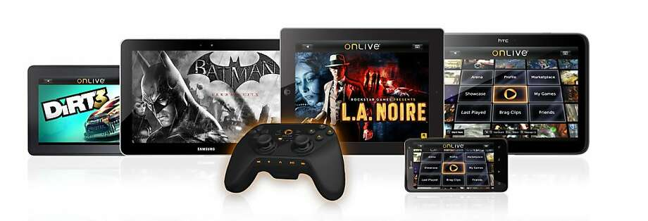 This product image provided by OnLive Inc, shows tablets displaying a variety of games using the OnLive game controller. OnLive Inc. said Thursday,  Dec. 8, 2011, that it will now stream console-quality games on tablets and phones using a mobile application. (AP Photo/OnLive Inc.) Photo: AP