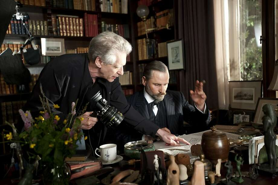 "Director David Cronenberg and Viggo Mortensen on the set of ""A Dangerous Method."" Photo: Sony Pictures Classics"