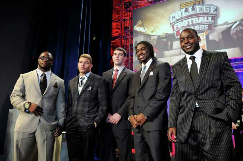 Heisman Trophy finalists, from left, Alabama's Trent Richardson, LSU's Tyrann Mathieu, Stanford's An
