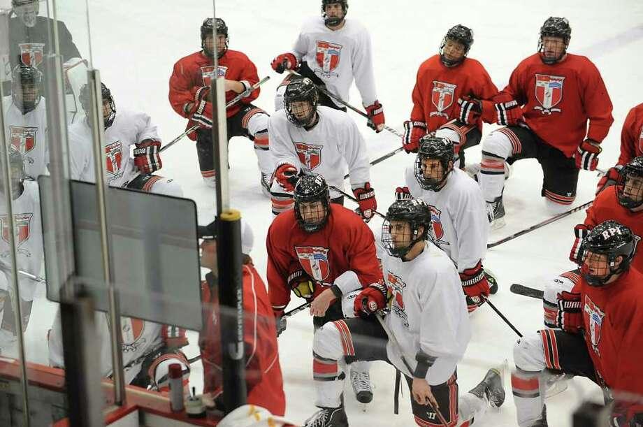 RPI hockey coach Seth Appert talks to his players during practice on Thursday, Dec. 8, 2011 in Troy, N.Y.  (Lori Van Buren / Times Union) Photo: Lori Van Buren