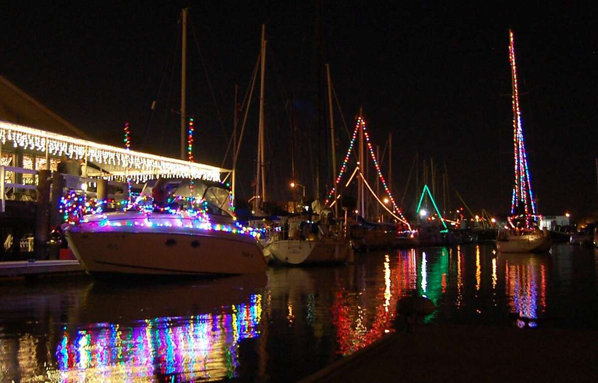 Boats line up for the lighted boat parade at Vallejo Yacht Club on Dec. 3. The lighted boat parade at Vallejo Yacht Club helped inspire a photo contest at Latitude 38 Magazine.